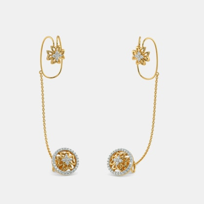 The Alaine Stud Chain Clips Earrings
