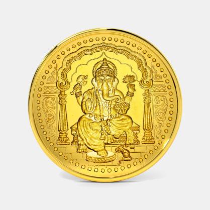 2 gram 24 KT Ganesh Gold Coin